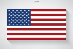 Abstract American flag with long shadow effect on white background. Vector illustration Royalty Free Stock Images