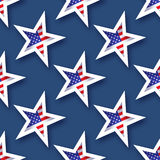 Abstract american flag seamless pattern. Origami Patriot Day on blue background with stars and stripes. Vector illustration stock illustration