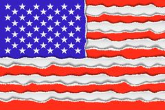 Abstract American flag from torned paper. Patriotic USA background illustration Stock Images