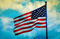 Abstract American flag waving. On flagpole Royalty Free Stock Image