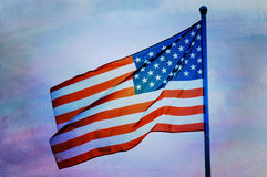 Abstract American flag waving. On flagpole Stock Photos