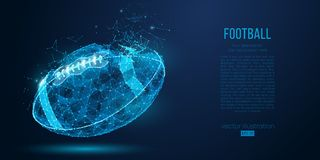 Abstract American football ball from particles, lines and triangles on blue background. Cyber technology rugby. Vector. Abstract American football ball from stock illustration