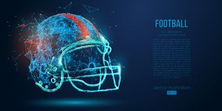 Abstract American football helmet from particles, lines and triangles on blue background. Rugby. Vector illustration. Abstract American football helmet from royalty free illustration