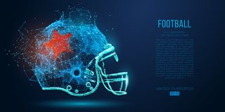 Abstract American football helmet from particles, lines and triangles on blue background. Rugby. Vector illustration. Abstract American football helmet from vector illustration