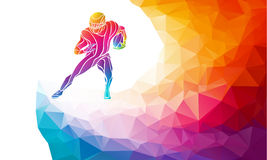 Abstract american football player. Color vector illustration on polygonal multicolor background Stock Photo