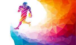 Abstract american football player. Color vector illustration on polygonal multicolor background Royalty Free Stock Photos