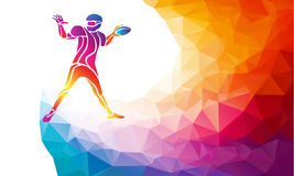 Abstract american football player. Color vector illustration on polygonal multicolor background Royalty Free Stock Photo
