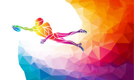 Abstract american football player. Color vector illustration on polygonal multicolor background Stock Images