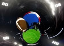 Abstract American football in a stadium. With spotlights Stock Image