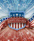 Abstract american patriotic background with shield Royalty Free Stock Image