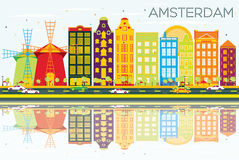 Abstract Amsterdam Skyline with Color Buildings, Blue Sky and Re. Flections. Vector Illustration. Business Travel and Tourism Concept with Historic Architecture Royalty Free Illustration