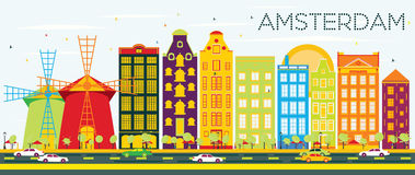 Abstract Amsterdam Skyline with Color Buildings and Blue Sky. Vector Illustration. Business Travel and Tourism Concept with Historic Architecture. Image for Royalty Free Illustration