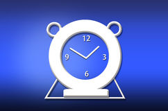 Abstract analog alarm clock. On blue background Royalty Free Stock Photo