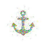 Abstract anchor splash. Multicolored circles. Vector illustration Stock Photography