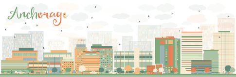 Abstract Anchorage Skyline with Color Buildings. Stock Image