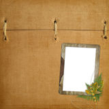 Abstract ancient brown background. With old frame in scrapbooking style stock illustration