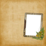 Abstract ancient brown background with old frame. In scrapbooking style stock illustration