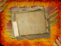 Abstract ancient brown background with paper. Abstract ancient brown background with set old paper in scrap booking style Royalty Free Stock Photography