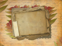 Abstract ancient brown background with set. Old paper in scrap booking style Royalty Free Stock Image