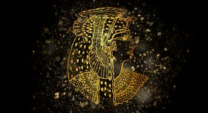 Abstract ancient Egyptian background, Cleopatra. stock illustration