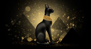 Abstract ancient Egyptian background, Cleopatra. Dark bokeh background royalty free illustration