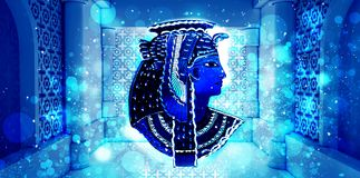 Abstract ancient Egyptian background, Cleopatra. Eastern interior background with ornaments. On the walls and columns, neon lights, rays of sunlight, bokeh. 3D royalty free illustration