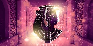 Abstract ancient Egyptian background, Cleopatra. Eastern interior background with ornaments. On the walls and columns, neon lights, rays of sunlight, bokeh. 3D vector illustration