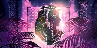 Abstract ancient Egyptian background, Cleopatra. Eastern interior background with ornaments. On the walls and columns, neon lights, rays of sunlight, bokeh. 3D stock illustration