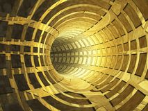 Abstract Ancient Gold Tunnel. A gold metal grid tunnel background, abstract to wealth escape royalty free illustration