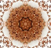 Abstract ancient ornament in brown and white color Stock Image