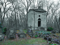 Abstract ancient tomb. In abandoned and ransacked Jewish Cemetery. Sad place, religion, jewish Royalty Free Stock Image