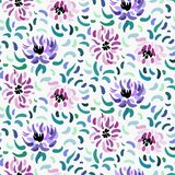 Abstract anemone pattern. Seamless pattern of purple and pale pink anemone flowers in post-impressionism style royalty free illustration