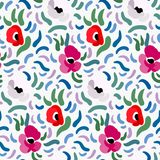 Abstract anemone pattern. Seamless pattern of red, pink and pale beige anemone flowers in post-impressionism style royalty free illustration