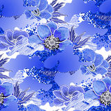 Abstract anemone pattern. Abstract anemone seamless pattern. Trendy fabric design in blue and white colors royalty free illustration