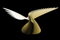 Abstract angel. Abstract gold angel, on the black backgrounds royalty free illustration