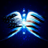 Abstract angel. Wings with american flag on shiny space background, creative illustration Stock Photo