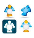 Abstract angel icon set on. White background royalty free illustration