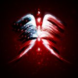 Abstract angel wings with american flag. On shiny space background Stock Images