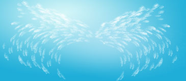 Abstract Angel Wings in Blue Sky. Abstract angel wings floating in blue sky Stock Illustration