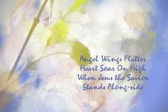 Abstract Angel Wings Flutter. This is a little poem I wrote ` Angel Wings Flutter, Heart Soar On High, When Jesus the Savior, Stands Along-side. The background royalty free stock photo