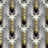 Abstract angel wings seamless pattern. Modern vector 3d ornament. Al background. Greek key meanders background. Vintage textured ornament with gold grid stock illustration