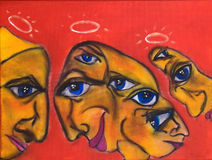 Abstract angels painting. This is a photo of an abstract acrylic painting (an illustration) three angels Stock Image
