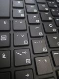 Black keyboard with white letters royalty free stock image