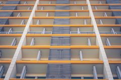Abstract angle bottom view of front side of residential architecture buildings. Royalty Free Stock Photos