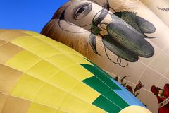 An Abstract Angle of Colorful Hot Air Balloons stock photo