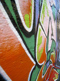 Abstract angle view of graffiti wall Royalty Free Stock Images