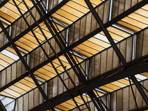 Abstract of Angled Ceiling with Support Beams Royalty Free Stock Images