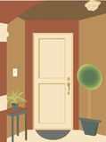 Abstract angled doorway entrance plants mat Stock Photo