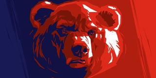 Abstract angry bear. Angry bear on a red and blue background Royalty Free Stock Photos