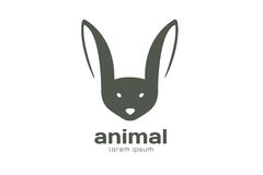 Abstract animal face logo  template. Rabbit Royalty Free Stock Image